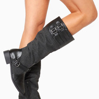 Black Faux Leather Strap and Buckle Riding Boots