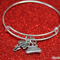 Practically Perfect Mary Poppins Magical Bangle Bracelet with a Umbrella and Carpet Bag Purse Charm