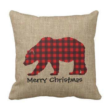 Burlap & Lumberjack Plaid Bear Throw Pillow