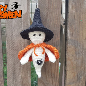 Crochet ghost Amigurumi knitted ghost Halloween toy Spooky halloween decor plush ghost halloween decoration Gift for Trick or Treat Bag