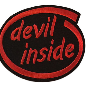 Devil Inside Red and Black Embroidered Biker Iron On Patch