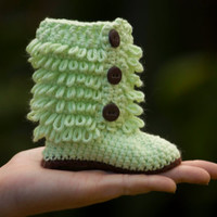 Baby Booties, Tall Furry Boot, Mint Chocolate Chip, newborn-6 months, Christmas in July Sale, CIJ