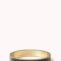 FOREVER 21 Lacquered Hinge Bangle Black/Gold One
