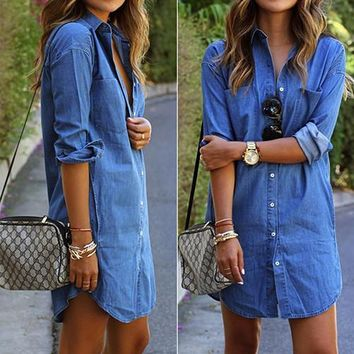 Women's Spring Long Sleeve Casual Denim Blouse Tops Shirt with Pockets