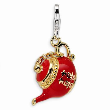 Sterling Silver Gold-plated Red Enameled Tea Pot w/Lobster Claw Clasp Charm