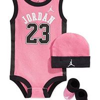 Jordan Baby Clothes 3 Piece Basketball Jersey Set (0-6 months) Pink, 0-6 Months
