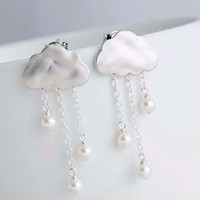 Rain Clouds Post Earrings. Silver plated Clouds with White Pearls Rain Drops. 925 Sterling Silver Post Earrings. Cute. Whimsical.
