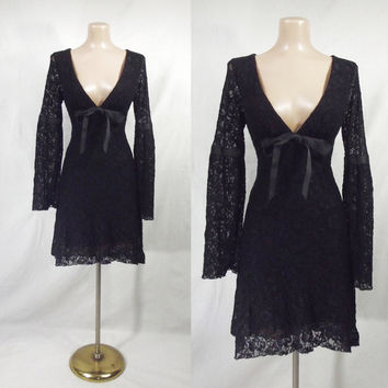 VENUS Bell Sleeve Stretch Black Lace Mini Dress M