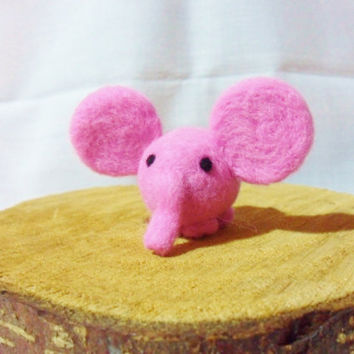Needle Felted Pink Elephant -  miniature elephant figure - 100% merino wool - wool felt elephant
