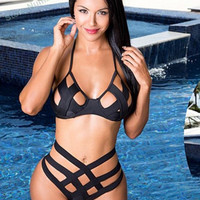 2016 New cut out high waist bikini cheeky bikini bandage high waist swimsuit cut out swimwear halter bikini halter bathing suits