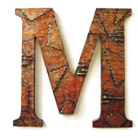 Abstract Industrial Wall Letter M faux finish copper distressed metal decorative letter made to order alphabet letters and symbols 10 inch