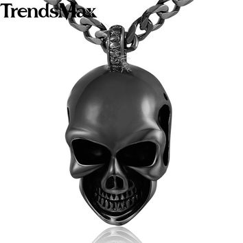 Gothic Skull Pendant 316L Stainless Steel Pendant Necklace Jewelry