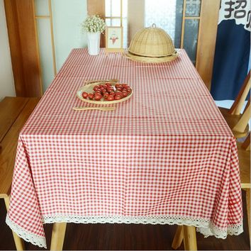 Red Plaid Oilproof Tablecloths Rectangular Dining Table Cover Linen Cotton Lace Edge Countryside Table Cloth Mariage