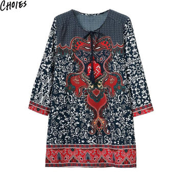 Women Multicolor V Neck Vintage Chevron And Floral Totem Print  Ethnic Shift Mini Dress 2016 Summer Tie Front Casual Clothing