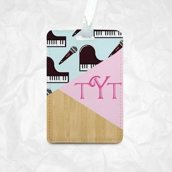 Piano and mic icons Personalized Luggage Tag, Personalized Bag Tag, Personalized Backpack Tag, Personalized Kids Bag Tag, Personalized Gift