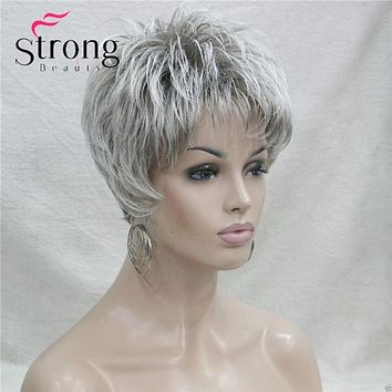 Short Layered Grey Silver Shag Classic Cap Full Synthetic Wig