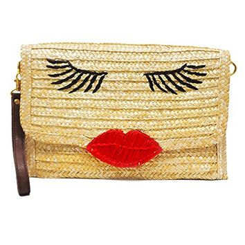 Straw Face Lips Wristlet Clutch Purse Bag 349265