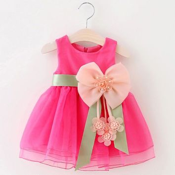 2017 Baby Girls Big Bowknot Infant Party Dress For Toddler Girl First Brithday Baptism Clothes Double Formal Tutu Elsa Dresses