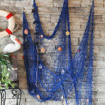Nautical Fishing Net Seaside Hanging Wall Beach Party Sea Shells Home Garden Decor Design Interior Outdoors DIY
