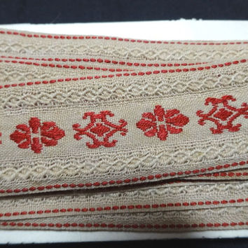 3.75 Yards of Vintage 1960s Embroidered Trim in Cranberry, Ecru, 1 Inch Wide, Vintage Sewing Notion Trim, Home Sewing Notions Trim, Decor
