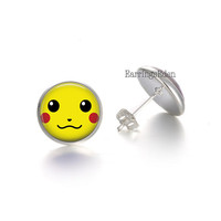 Pokemon Earrings, Pokemon Go Jewelry, Pikachu EarringAnime Earrings,Fan Art Stud Earrings, 12mm earrings, Silver earrings, geeky gift