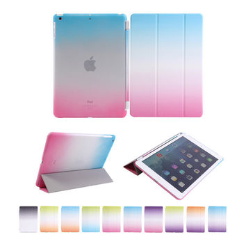 for Apple iPad Air 1 Smart rainbow cover PU Leather case for ipad 5 flip stand with wake-up sleep function