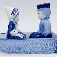 Delft Blue Salt and Pepper Set, Dutch Holland Souvenirs, Mid Century Kitchen Decor, Boy and Girl in Boat, 3 piece set, Dutch American Import