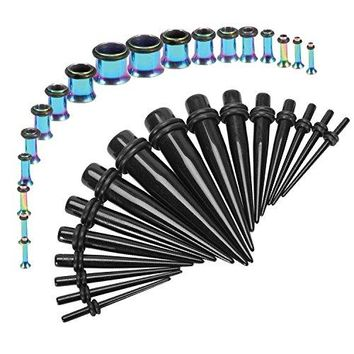 BodyJ4You Gauges Kit Black Tapers Rainbow Plugs Steel 14G-00G Stretching Set 36 Pieces