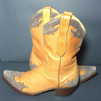 OLD GRINGO Gray Tan Leather Western Cowboy Cowgirl Boots Women's Size 8.5