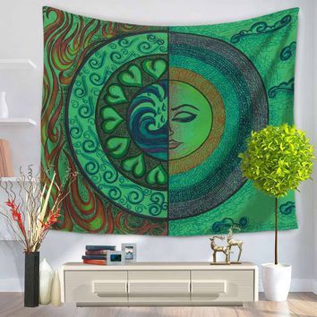 New Indian Tapestry Religion Sun Moon Printed Rectangle Polyester Home Decoration Wall Mandala Tapestry Tapiz pared 150x130cm