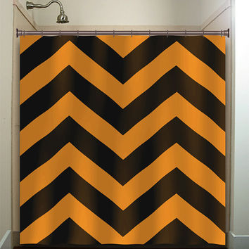 giant big large black orange chevron shower curtain bathroom decor fabric kids bath white black custom duvet cover rug mat window