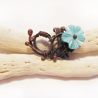 Wire Copper  Ring -Teal Turquoise Blue Flower Ring -  Wire Ring  with floral motifs- OOAK ring - made in Israel