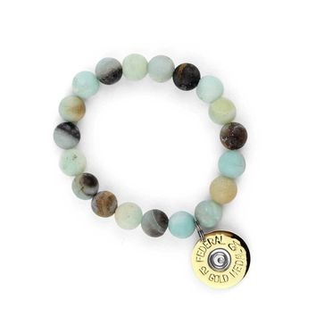 Amazonite Blue Beaded Bracelet with 12 Ga. Gold Shotgun Shell