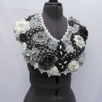 Crochet Woman Warm Scarf Dark Grey and White Flowers and Leaves - Free Shipping ETSY