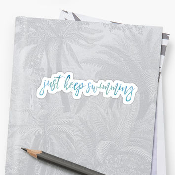 'JUST KEEP SWIMMING' Sticker by funkythings