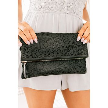 In My Grasp Laser Cut Clutch (Black)
