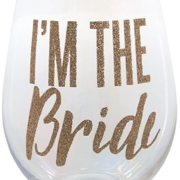 I'm The Bride Jumbo Stemless Glitter Wine Glass