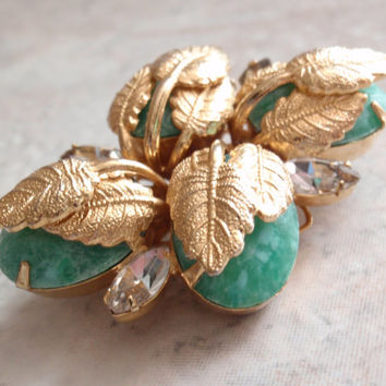 Hobe Green Brooch Pin Marbled Glass Art Glass Peking Glass Leaves Rhinestones Vintage 103114RL
