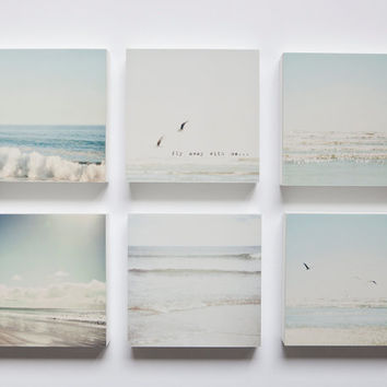 Pale blue, grey and white beaches set of 6 photo blocks-beach decor, beach wall art, ocean, seagulls, typography, sunshine, summer, soothin