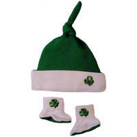 Baby Boys' Knotted Shamrock Hat and Booties Set