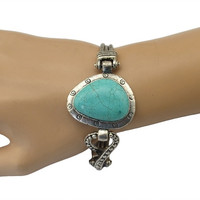 Bohemian Style Silver Plated Chain Big Turquoise Geometri Shape Bracelet for Women Jewelry (Color: Green)