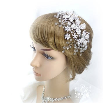 Rhinestone Flowers Crystal Bridal tiara Hair band Wedding Jewelry Hair Accessory