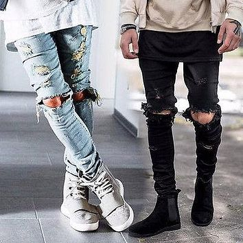 Mens Ripped Skinny Straight Slim Elastic Denim Fit Biker Jeans Pants Long Pants Stylish Straight Slim Fit Jeans