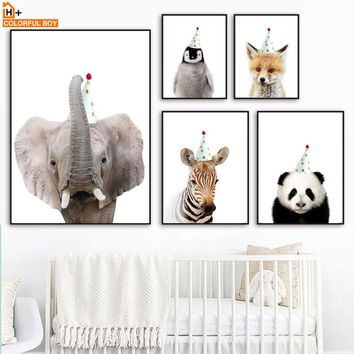 Wall Art Print Canvas Painting Zoo Party Nordic Style Kids Decoration Animal Posters And Prints Wall Pictures Baby Kids Room