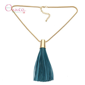 Gold Tone Chain Leather Tassels Necklace 2015 weekend deals celebrity style Long necklaces & pendants fashion women Jewelry