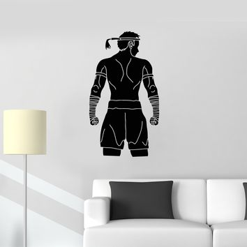 Vinyl Wall Decal Muay Thai Fighter Fight Club MMA Sports Art Stickers Mural (ig5349)