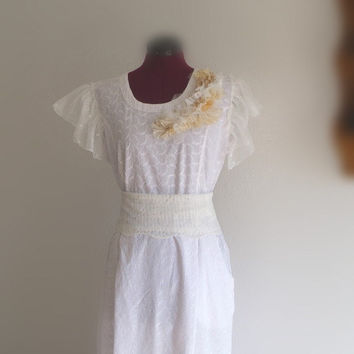Romantic French Country Wedding Dress/ Funky Cotton by KheGreen
