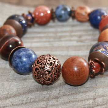 Mixed bead bracelet , Beaded gemstone bracelet , Boho chic , Bohemian bracelet  Nature bracelet  Rustic bracelet  Everyday Starry sky