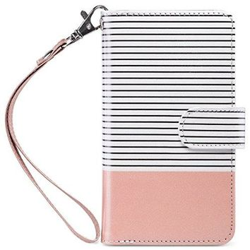 iPhone 7 Case, ULAK PU Leather iPhone 7 Wallet Case with [Credit Card Slot] Magnetic Closure Flip Wallet Case Cover for Apple iPhone 7 [4.7 inch] - Rose Gold/Black Stripe