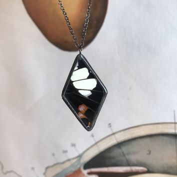 Black and Red Butterfly Wing Diamond Necklace